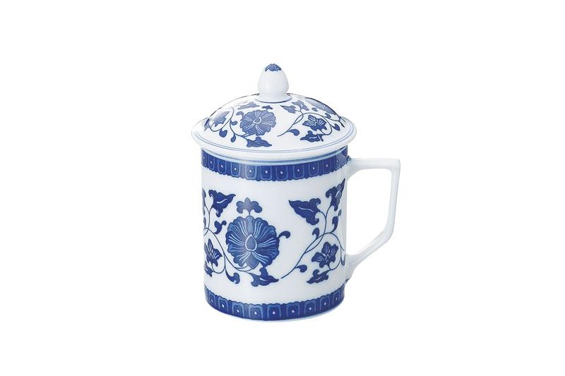 青花萬蓮 蓋付茶椀 5.5インチ